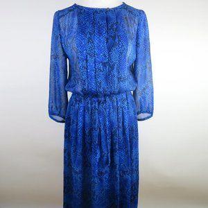Aritzia Babaton Blue Silk Snakeskin Print Dress XS